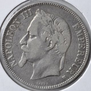 1869 5 Franc Napoleon Iii France Silver Coin Circulated photo