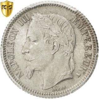 [ 82469] Second Empire,  1 Franc Napoléon Iii Tête Laurée 1866 A,  Pcgs. photo