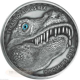 Tyrannosaurus Rex 2016 1 Oz Silver Coin Real Eye Effect Antique - Burkina Faso photo