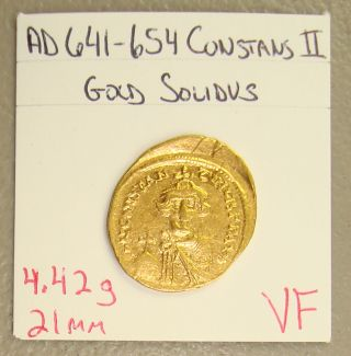 Ad 641 - 654 Constans Ii Ancient Byzantine Gold Solidus Vf photo