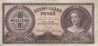 Hungary 1 Million Pengo 1946 P - 125 Vf photo
