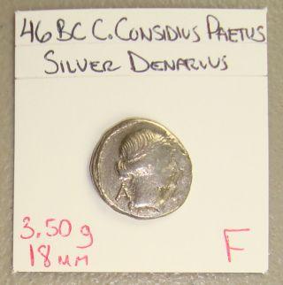 46 Bc C.  Considius Paetus Apollo/chair Ancient Roman Republic Silver Denarius F photo