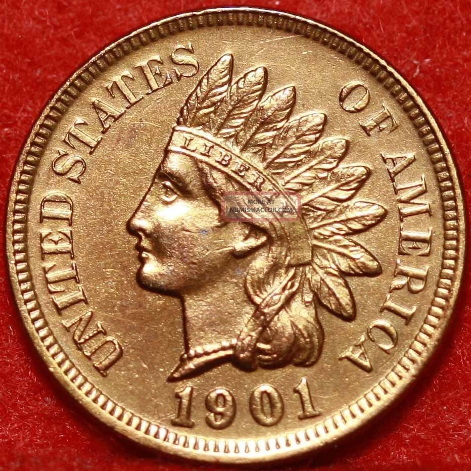 Uncirculated 1901 Philadelphia Copper Indian Head Cent S/h Small Cents photo