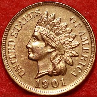 Uncirculated 1901 Philadelphia Copper Indian Head Cent S/h photo