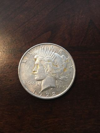Circulated 90 Silver Peace Dollar 1922 photo