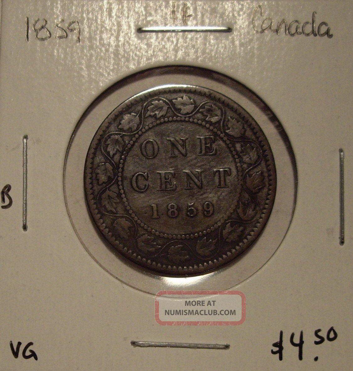 B Canada Victoria 1859 Large Cent - Vg Coins: Canada photo