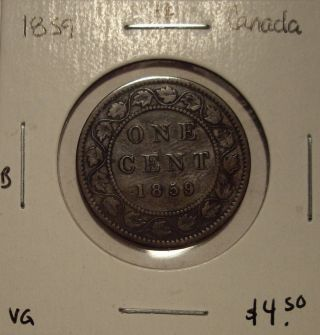 B Canada Victoria 1859 Large Cent - Vg photo