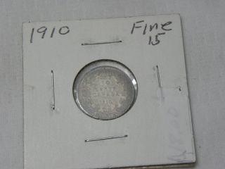 1910 Canada Ten Cent Silver Fine - Very Fine.  925 Silver photo