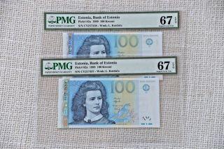 Estonia 1999 Pick 82a Pmg67 Consecutive Pair 217437 - 38 photo