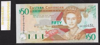 [bl] East Caribbean,  St.  Lucia,  50 Dollars,  Nd (1994),  P34l,  Unc, photo