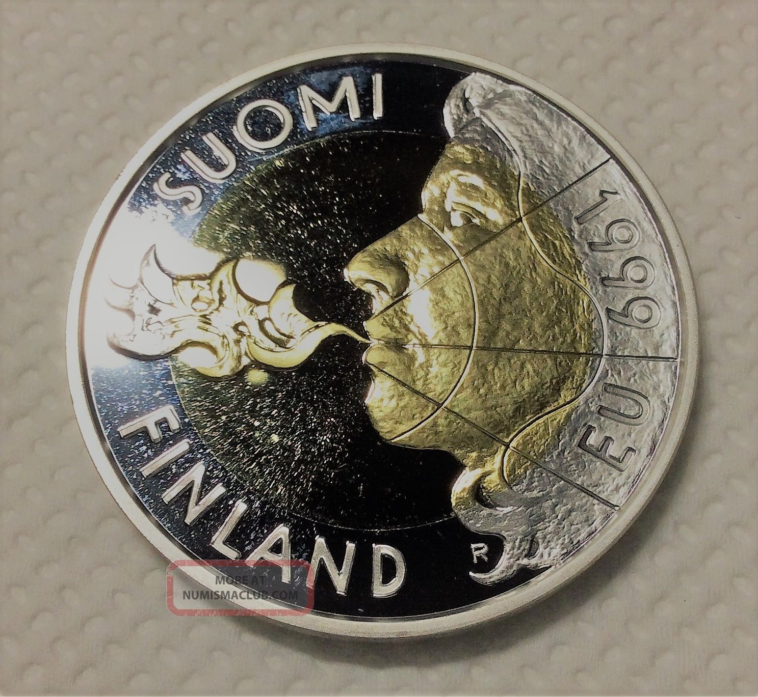 1999,  Finland,  Special Of The Unusual,  10 Markka Gold - Plated Sterling Silver Europe photo