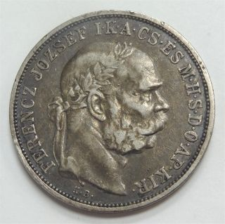 1908 Hungary 5 Korona Silver (. 900) Coin Circulated Fine To Almost Vf Details photo