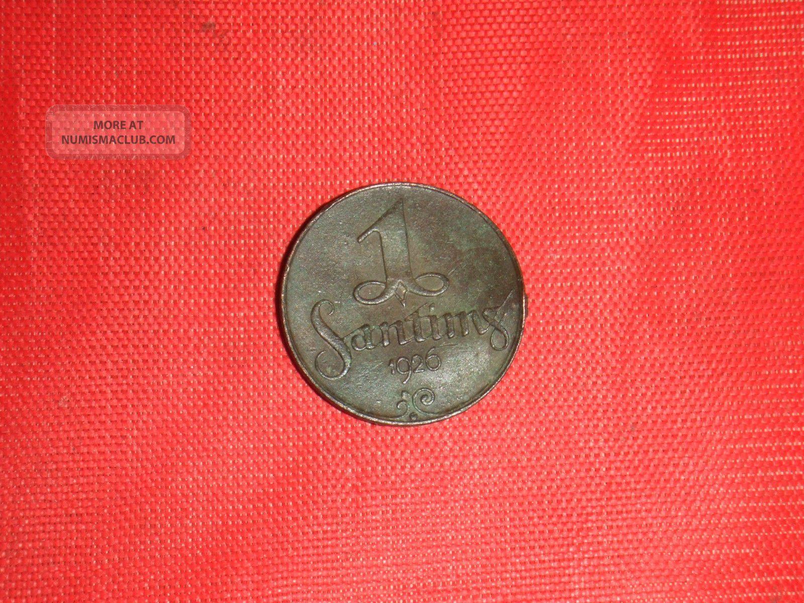 Latvia,  1926,  1 Santims,  Bronze, Europe photo