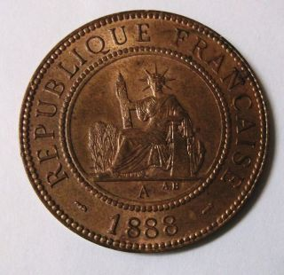 1888 A French Indo China Bronze Large Penny Asia photo