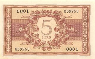 Italy 5 Lire 23.  11.  1944 Series 0601 Wwii Issue Circulated Banknote E30w photo