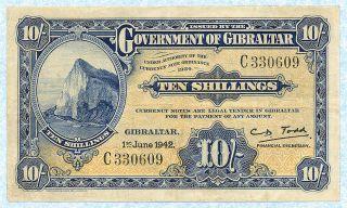 Gibraltar 10 Shillings 1942 P14b Vf photo