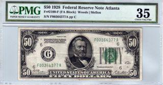Fr.  2100 - F $50 1928 Atlanta Frn Numerical District 6 Pmg Very Fine 35 photo