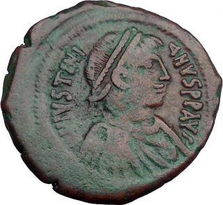Justinian I 527ad Authentic Ancient Byzatnine Large Follis Coin Rare I33909 photo