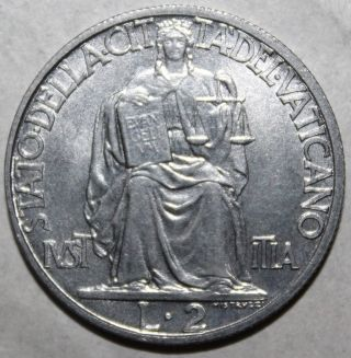 Vatican City 2 Lire Coin,  1942 - Km 36 - Pope Pius Xii - Two - Roman Catholic photo