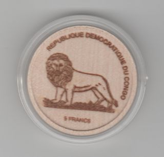Congo 5 Francs 2005 - Low Mintage Wooden Coin - Gorilla Lion Protection Animals photo