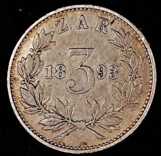 South Africa 3 Pence 1893 Silver Km 3 3p Z.  A.  R.  Zuid - Afrikaansche Republik photo
