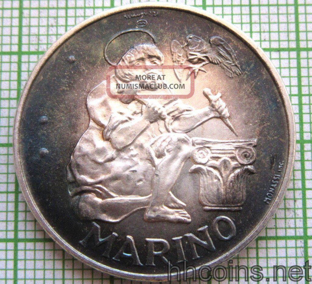 San Marino 1975 500 Lire,  Marino,  Silver Patina Unc San Marino photo
