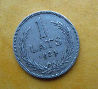 Latvia 1 Lats 1924 Silver Coin photo