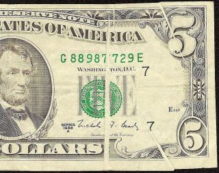 1988 A $5 Dollar Bill Gutter Fold Error Federal Res Note Us Currency Paper Money photo