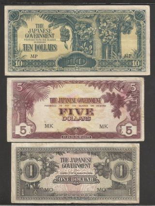 1940 ' S Malaya Japan Occupation Ww Ii Paper Money $10 $5 $1 photo