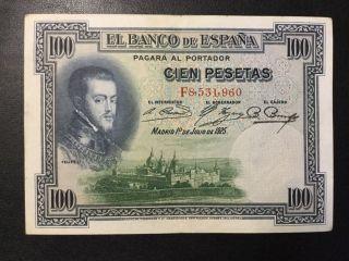 1925 Spain Paper Money - 100 Pesetas Banknote photo