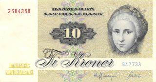 Denmark 10 Kroner 1977 P 48g Series B - A Circulated Banknote E1017 photo