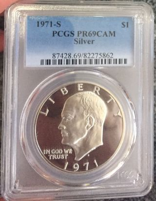 1971 S Pcgs Pr69cam Cameo Proof Silver Eisenhower Dollar photo