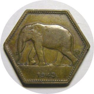 Elf Belgian Congo 2 Francs 1943 African Elephant Philadelphia World War Ii photo