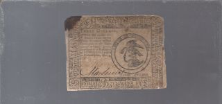 May 9,  1776 $3 Dollars Philadelphia,  Pa Continental Currency Note photo