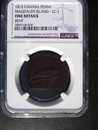 1815 Canada Magdalen Island Penny Token,  Ngc Fine Details - Bent,  Lc - 1 photo