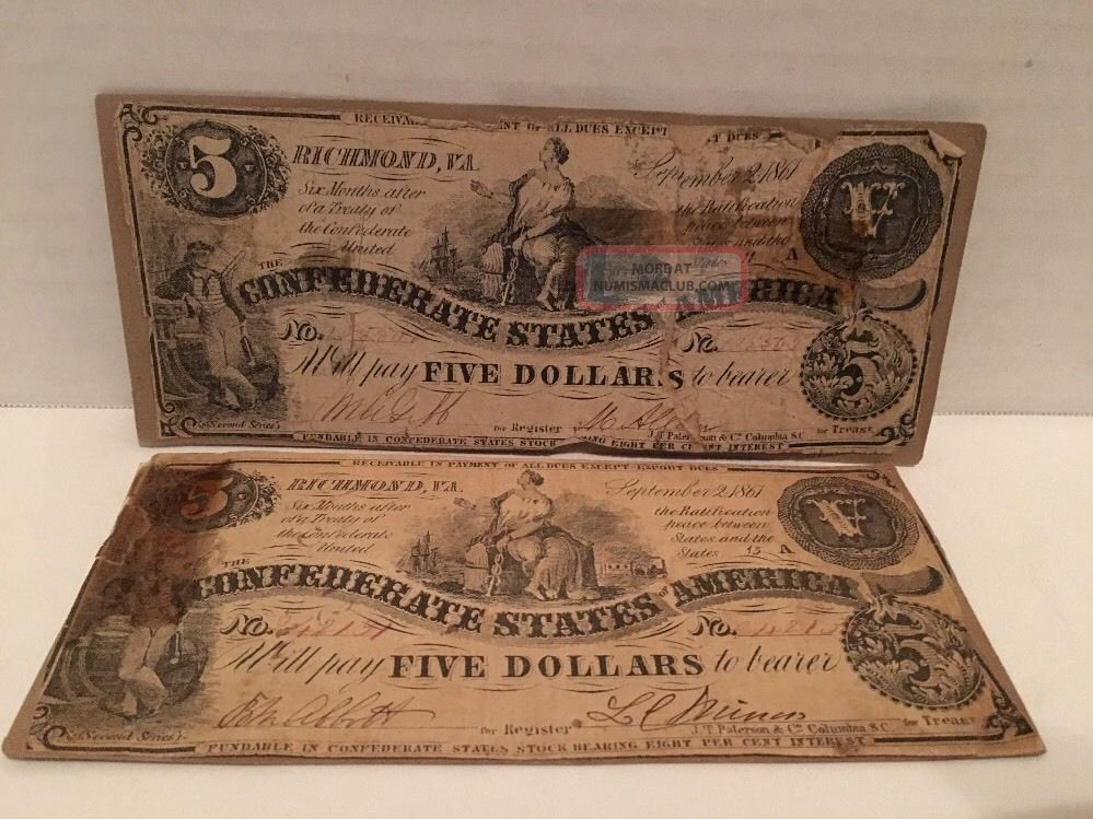 (2) 1861 $5 Confederate States Of America Large Note Richmond,  Virginia Five Paper Money: US photo