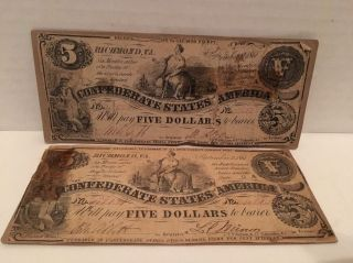 (2) 1861 $5 Confederate States Of America Large Note Richmond,  Virginia Five photo