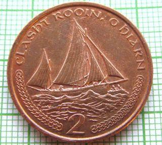 Isle Of Man 2000 2 Pence,  Sailboat photo