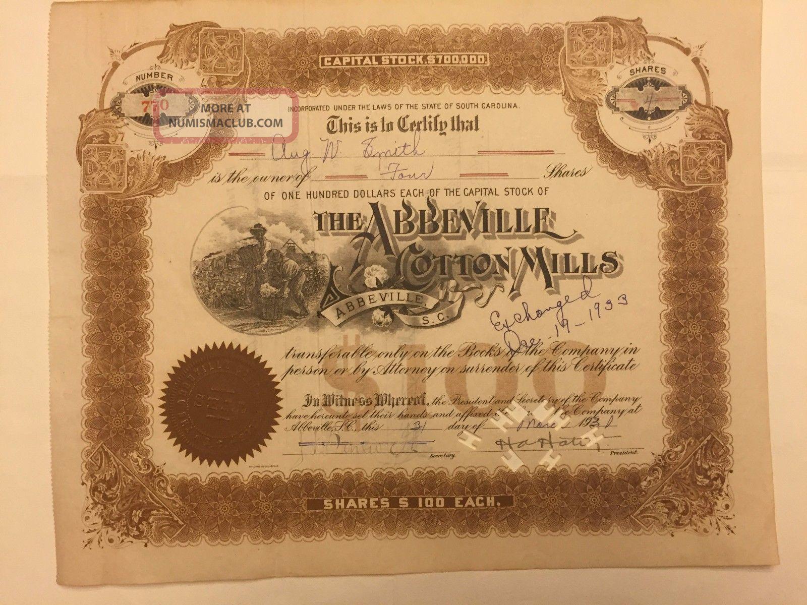 1931 Abbeville Cotton Mills Stock Certificate Rare South Carolina Slave Vignette Stocks & Bonds, Scripophily photo