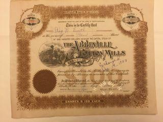 1931 Abbeville Cotton Mills Stock Certificate Rare South Carolina Slave Vignette photo