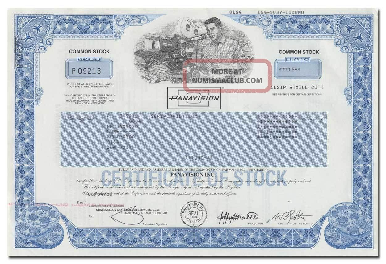 Panavision,  Inc.  Stock Certificate - Hollywood Movie Filming Process Stocks & Bonds, Scripophily photo