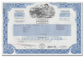 Panavision,  Inc.  Stock Certificate - Hollywood Movie Filming Process photo