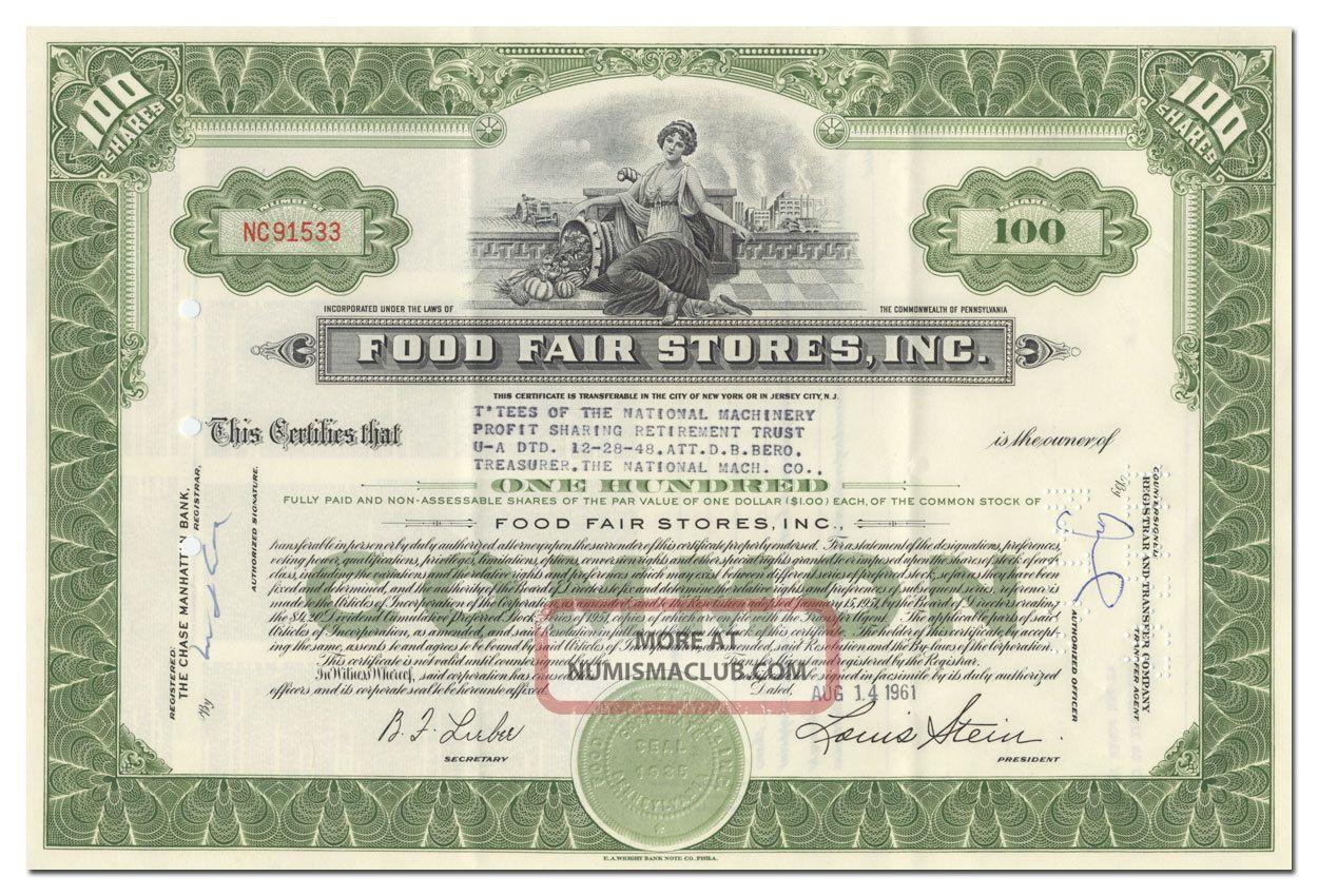 Food Fair Stores,  Inc.  Stock Certificate Stocks & Bonds, Scripophily photo