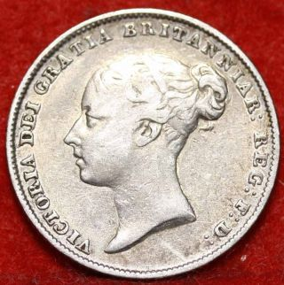 1846 Great Britain 6 Pence Silver Foreign Coin S/h photo