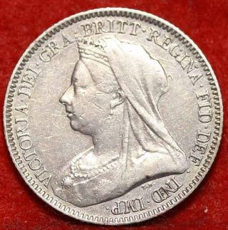 1893 Great Britain 6 Pence Silver Foreign Coin S/h photo