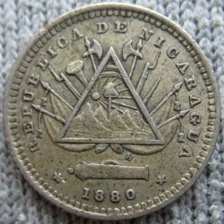 1880 Nicaragua Silver 5 Centavos photo