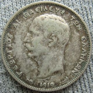 1910 Greece Silver Drachma photo