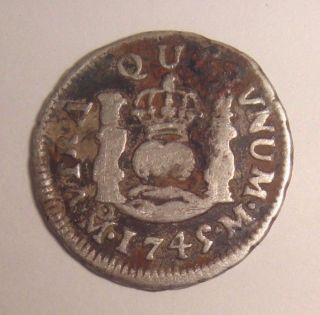 1745 Mo M Spain Mexico 1/2 Real Silver Coin photo