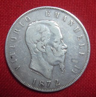 1872 M Bn Italy 5 Lire Silver Coin photo