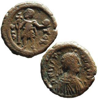 Ae Justinian I (527 - 565) Pentanummium Emperor With Globo Cherson Sb 197a photo